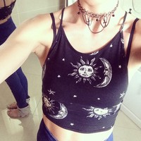 Motel Folly Strappy Crop in Sun Moon Stars Print
