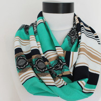 mint viscose lace scarf,infinity scarf, scarf, scarves,loop scarf, gift