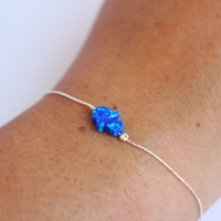 Hamsa opal bracelet or anklet, Hand (Hand of Fatima) in Royal Blue opal, sterling silver chain, kabbalah charm jewelry, 1 pcs - happy summer
