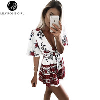 Boho Style Women Summer 2016 Red Floral Print Playsuits Ladies Deep V Neck Bow Waist Slim Overalls Sexy Beach Jumpsuits Romper