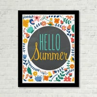 Hello Summer Chalkboard and Bright Floral with Typography Print Wall Art Positive Saying Print Digital Art Graphics Download