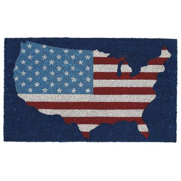 United States Map Pattern Coir Doormat
