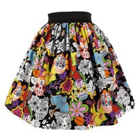 Hemet Alegria Pleated Day of the Dead Sugar Skulls Skirt