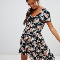 Miss Selfridge skater dress in floral print at asos.com