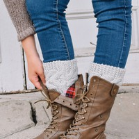 Light Grey Cable Knit Sweater Boot Cuffs