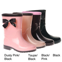 Henry Ferrera Girls' Bow Detail Rubber Rain Boots - Black