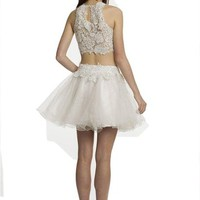 Short Two Piece Prom Dresses for Maxi Wedding Homecoming Formal Bridesmaid Lace
