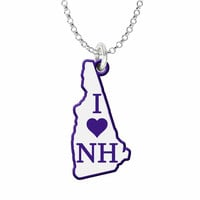 I Love New Hampshire Silver State Necklace with Color Accent