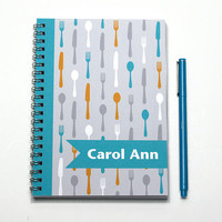 Personal Planner, Loves to Cook Gift, Personalized Calendar, Chef Present, scheduler, 2015-2016 weekly planner, spoon, SKU: pl fd aqua