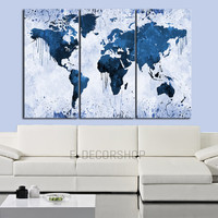 Custom Color WORLD MAP Canvas Print - 3 Panel Canvas Art Print - Paint Splash World Map Framed Ready to Hang - Colorful Mix World Map