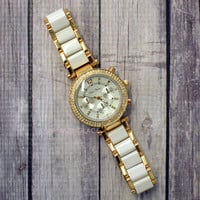 Cafe Society White & Rose Gold 2 Toned Bracelet Watch