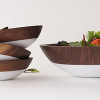 Walnut and White, Salad Serving Set