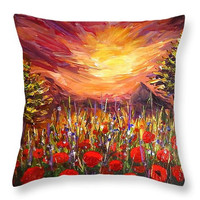 Custom made decorative throw pillow. Colorful pallet knife painting artwork on pillow, poppy field sunset print.