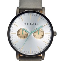 Men's Ted Baker London Multifunction Leather Strap Watch, 40mm