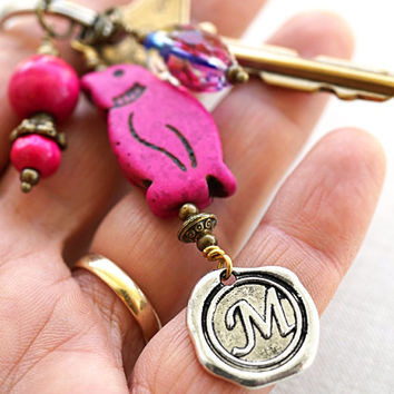 Fuchsia Monogram Keychain, Personalized Keychain, Initial Keychain, Penguin, Wax Seal, Howlite Turquoise Jewelry, Unisex Gift