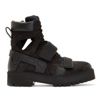 Black Suede & Rubber Avalanche Boots