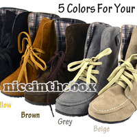 Women's Winter Casual Pointed Toe Lace Up Snow Flat Boots Ankle Shoes New N98B