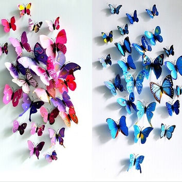 ( 12 pcs / pack ) 3D wall stickers butterfly fridge magnet wedding decoration home decor = 1932528388