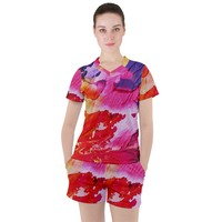 Red Purple Paint Women's Mesh Tee And Shorts Set
