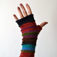 Colorful Fingerless Gloves - Fall Accessories - Knit Gloves - Wool Fingerless - Women's Gloves nO 150.