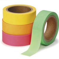 DARICE 1217-153 Washi Tape Roll, 5/8 by 315-Inch, Assorted Neon, 4-Pack