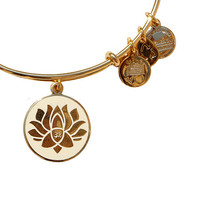 Alex and Ani Lotus Peace Petals Epoxy Bangle Ivory - Yellow Gold