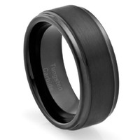 8MM Men's Tungsten Carbide Ring Wedding Band Black Plated, Brushed Top and Grooved Polished Edges