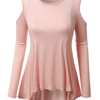 LE3NO Womens Flowy Scoop Neck Long Sleeve Cut Out Shoulder Tunic Top (CLEARANCE)