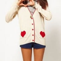 Game of Love Knit Cardigan with Heart Print Pockets in Beige | Sincerely Sweet Boutique