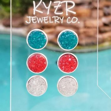 Druzy earring set- Teal/ White and Watermelon drusy stud set