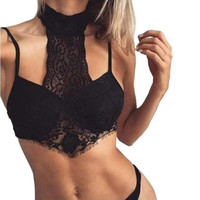 New Fashion   Women Ladies Lace Halter Neck Hollow Out Crop Top Bralette Strappy Backless Camis Women Cropped #23 GS