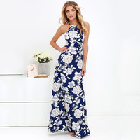 2017 Summer Floral Print Bohemia Sexy Backless One Piece Dress [10907675023]