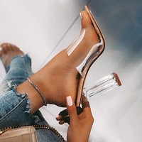 2020 new arrivals women's crystal heel slippers sexy women sandals shoes