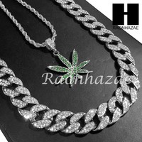 "14k White Gold PT MARIJUANA Pendant 15mm Iced Out Miami Cuban 30"" Necklace S193S"