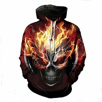 Melted Skull 3D Print Fashion Casual Pullovers Streetwear Tops