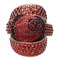 b.b. Simon '8 Ball' Blood Red Crystal Belt