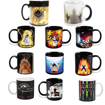 Anime Coffee Cup Mug Lord of The Rings Mark Star War Dragon Ball Z Harry Potter Game of Thrones Walking Dead Color Changing Copo
