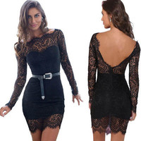 SIMPLE - Hollow Bandage Lace Sexy Backless Long Sleeve Neckline Casual Boho Dress b2711