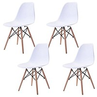 Giantex Set of 4 Mid Century Modern Eames Style DSW Dining Side Chair Wood Leg