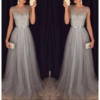 Silver Grey Prom Dress, Evening Gown, Graduation School Party Dress, Winter Formal Dress, DT0133