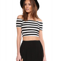 Striped Strapless Bodycon Cropped Top
