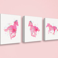 Horse Canvas Print Set, Watercolor Horse, Horse Wall Art, Horse Art Print, Girls Room Decor, Cowgirl, Equestrian Girl, Horse Painting