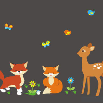 """Forest Wall Decals, Baby Nursery Wall Decals, Fox Decal, Deer Decal, Birds Decal, Nature Decal, Widlife Decal, Animal Decal - 70"""" x 40"""""""