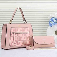 Fendi Women Shopping Leather Handbag Tote Satchel Shoulder Bag Pink