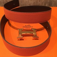 Auth Hermes 32 mm Belt Orange Brown Gold Guilloche Buckle Size 80 cm Mint.