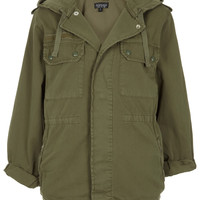 Khaki Hooded Army Jacket - Jackets & Coats - Clothing - Topshop