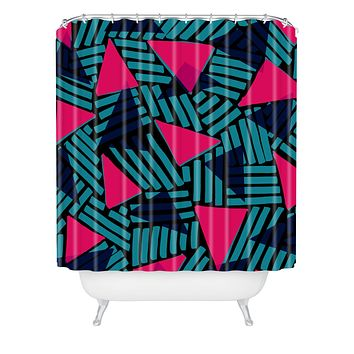 Sarah Bagshaw Blue And Pink Triangles Shower Curtain