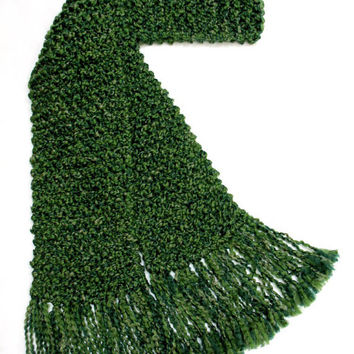 Extra Long Green Scarf Men Women Chunky Hand Knit Winter Scarf 10 ft  Super Long