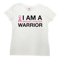 Breast Cancer Shirt Cancer Awareness T Shirt Cancer Survivor Pink Ribbon TShirt Gifts For Her I Am A Breast Cancer Warrior Ladies Tee- SA674