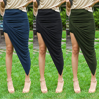 Wrap Asymmetrical High Low Skirt